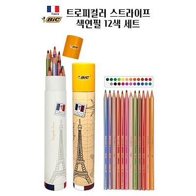 [BIC] 빅 트로피컬러 스트라이프 색연필 12색 세트